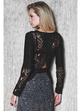 Blusa tricô fenda costas preta