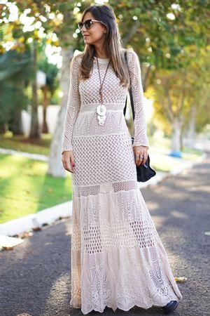 Vestido Tricô Boheme Areia