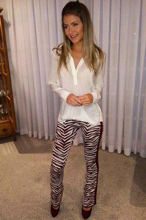 Calça tricot flare zebra vinho
