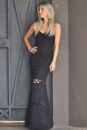 Vestido Longo Bandagem Preto
