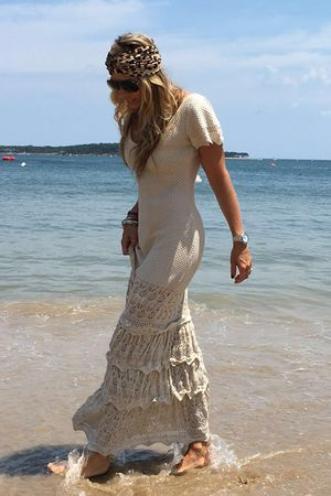 Vestido Tricô Longo Romantic Areia