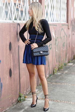 Vestido Tricô Leque Azul