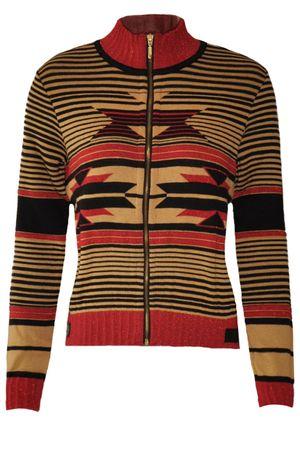 Jaqueta tricô zíper étnico vermelha