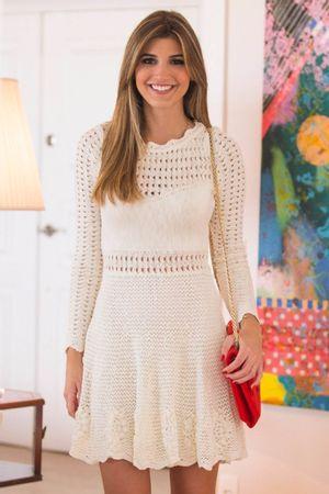 Vestido Tricô Floral Off White