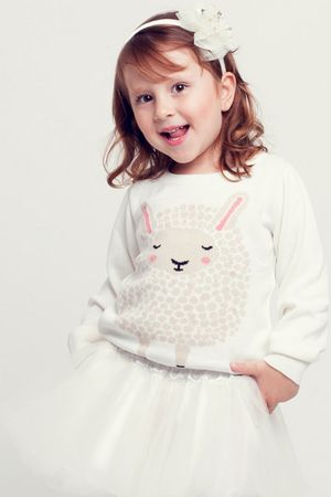 Sweater Tricô Ovelha Rosa Infantil