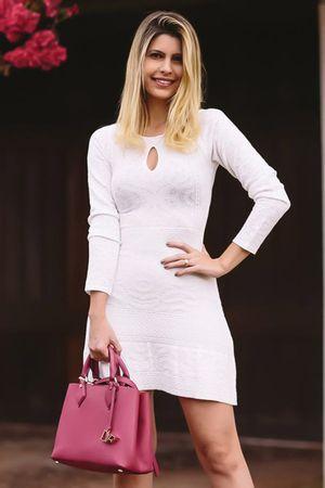 Vestido Tricô Mandala Branco
