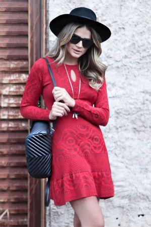 Vestido Tricô Mandala Vermelho