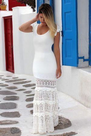 Vestido Tricô Longo Romantic Branco