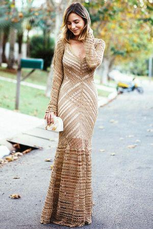 Vestido Tricô Longo Vitória Dourado