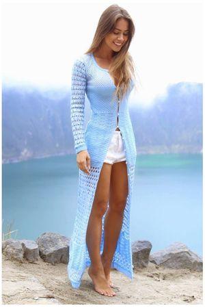 Vestido Glam Tricô Fenda Azul Candy