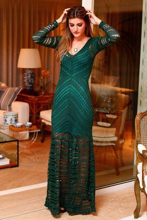 Vestido Tricô Longo Vitória Verde Musg