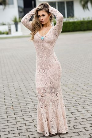 Vestido Tricô Renda Cristal Rosê