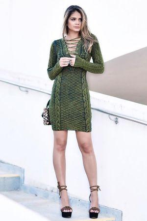 Vestido Tricô Delavê Verde Estonado