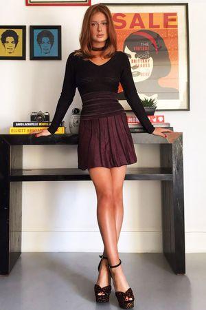 Vestido Tricô Leque Vinho