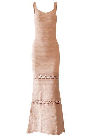 Vestido Longo Bandagem Champagne