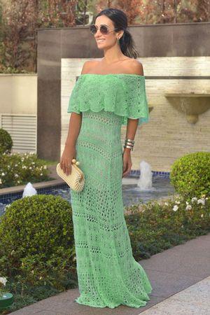 Vestido Tricô Longo Ombro A Ombro Verde Tiffany