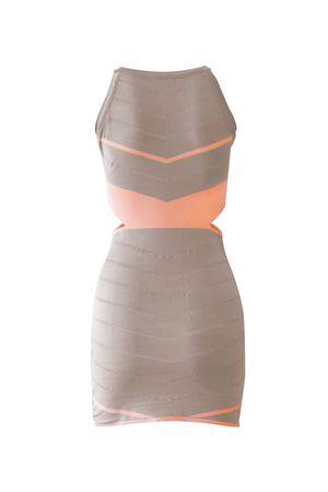 Vestido Bandagem Recortes Pêssego