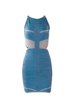 Vestido Bandagem Recortes Azul