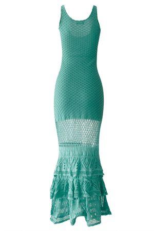 Vestido Tricot Renda Laila Verde