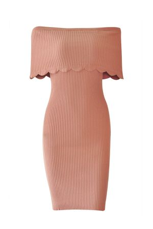 Vestido Tricot Canelado Rosê