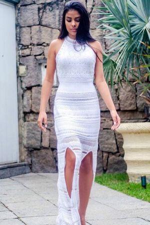 Vestido Tricot Fendas Branco