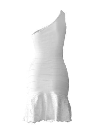 Vestido Bandagem Ombro Só Bordado Branco