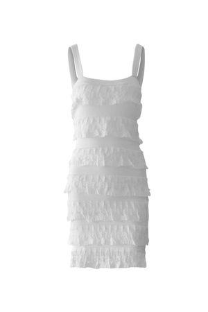 Vestido Tricô Babados Curto Branco