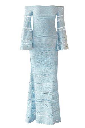 Vestido Ombro Manga Longa Azul