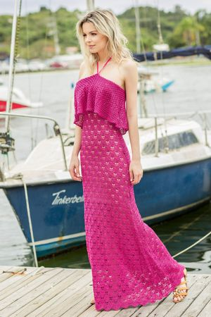 Vestido Tricô Decote Amarrar Pink