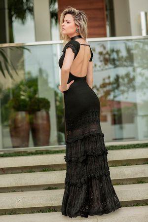 Vestido Tricô Longo Romantic Preto