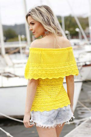Top Esperanza Tricô Ombro a Ombro Amarelo