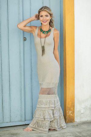 Vestido Tricot Renda Laila Cinza