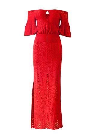 Vestido Ombro a Ombro Chevron Vermelho