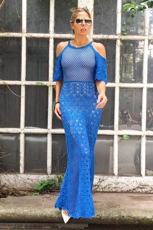 Vestido Tricot Madrepérola Azul