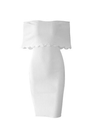Vestido Tricot Canelado Branco