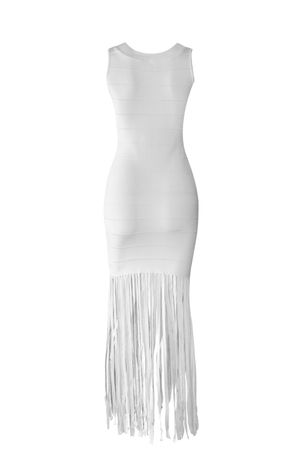 Vestido Bandagem Tiras Branco