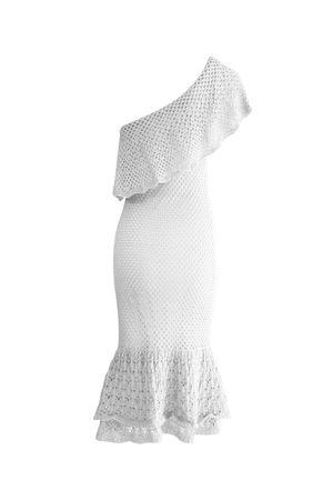 Vestido Tricot Ombro Só Babados Branco