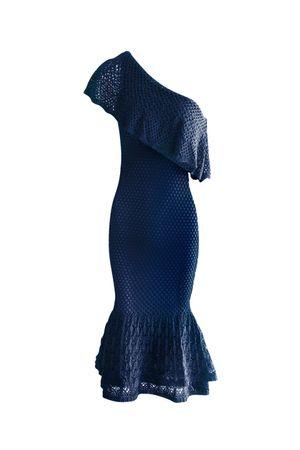 Vestido Tricot Ombro Só Babados Azul Indig