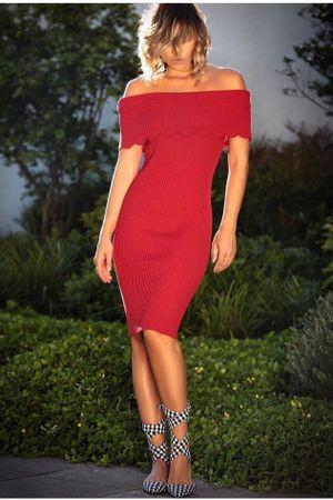 Vestido Tricot Canelado Vermelho
