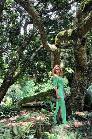 Vestido Ombro a Ombro Chevron Verde Tiffany
