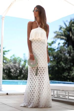 Vestido Decote Amarrar Conchita Off White