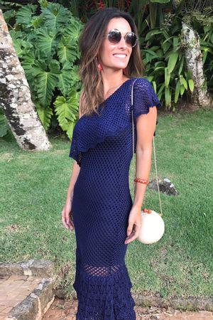 Vestido Tricot Ombro Só Babados Azul Indigo