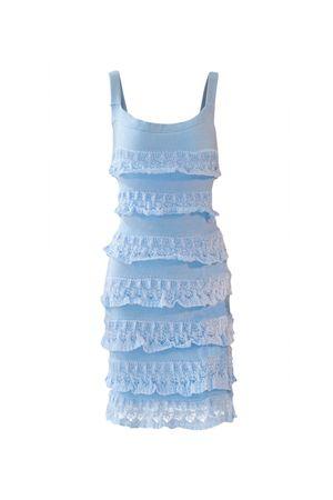 Vestido Tricô Babados Curto Azul Sonho