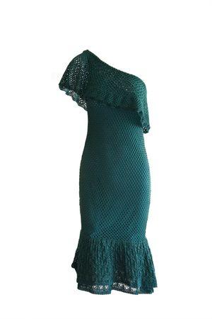 Vestido Tricot Ombro Só Babados Verde Armani