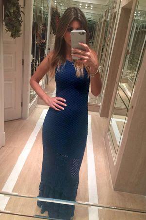 Vestido Tricot Renda Laila Azul Marinho