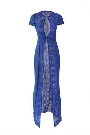 Saída Tricô Floral Azul Indigo