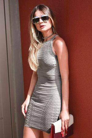 Vestido Bandagem Textura Cinza