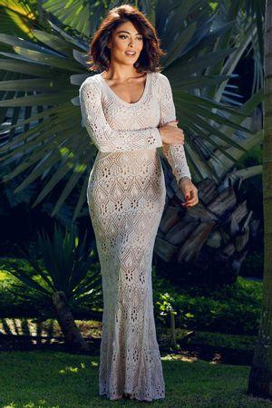 Vestido Tricô Renda Cristal Off White