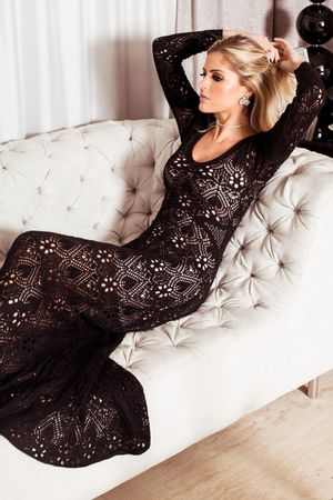 Crystal-Lace-Knit-Dress---Black---Lala-Rudge