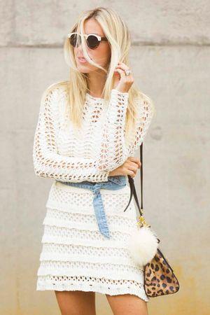 Vestido Tricô Renda Off White